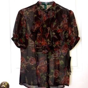 Lauren Ralph Lauren Silk Brown Green Floral Print